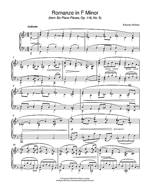Download Johannes Brahms 'Romanze in F Minor (from Six Piano Pieces, Op. 118, No. 5)' Digital Sheet Music Notes & Chords and start playing in minutes
