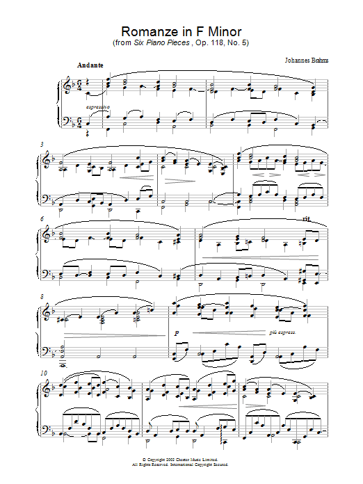 Johannes Brahms Romanze in F Minor (from Six Piano Pieces, Op. 118, No. 5) sheet music preview music notes and score for Piano including 4 page(s)