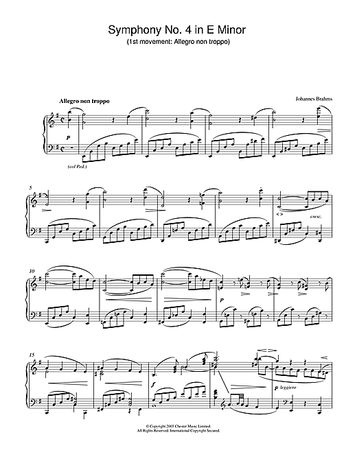 Download Johannes Brahms 'Symphony No. 4 in E Minor (1st movement: Allegro non troppo)' Digital Sheet Music Notes & Chords and start playing in minutes