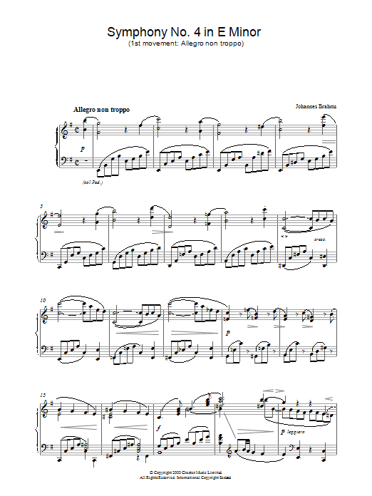 Johannes Brahms Symphony No. 4 in E Minor (1st movement: Allegro non troppo) sheet music preview music notes and score for Piano including 3 page(s)