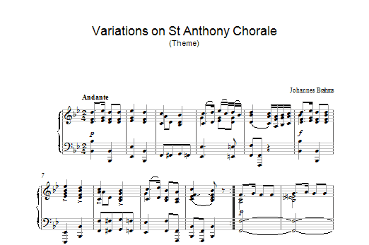 Johannes Brahms Variations on St Anthony Chorale (Theme) sheet music preview music notes and score for Piano including 2 page(s)