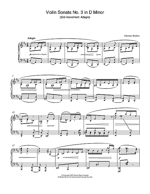 Download Johannes Brahms 'Violin Sonata No. 3 in D Minor (2nd movement: Adagio)' Digital Sheet Music Notes & Chords and start playing in minutes
