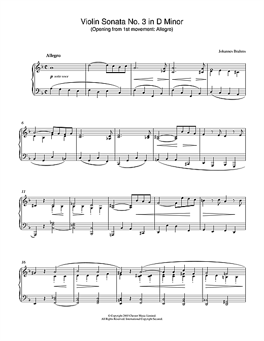 Download Johannes Brahms 'Violin Sonata No. 3 in D Minor (Opening from 1st movement: Allegro)' Digital Sheet Music Notes & Chords and start playing in minutes