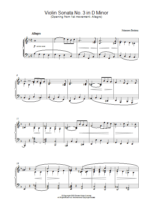 Johannes Brahms Violin Sonata No. 3 in D Minor (Opening from 1st movement: Allegro) sheet music preview music notes and score for Piano including 4 page(s)