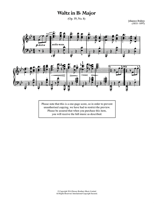 Download Johannes Brahms 'Waltz In B Flat, Op.39 No.8' Digital Sheet Music Notes & Chords and start playing in minutes