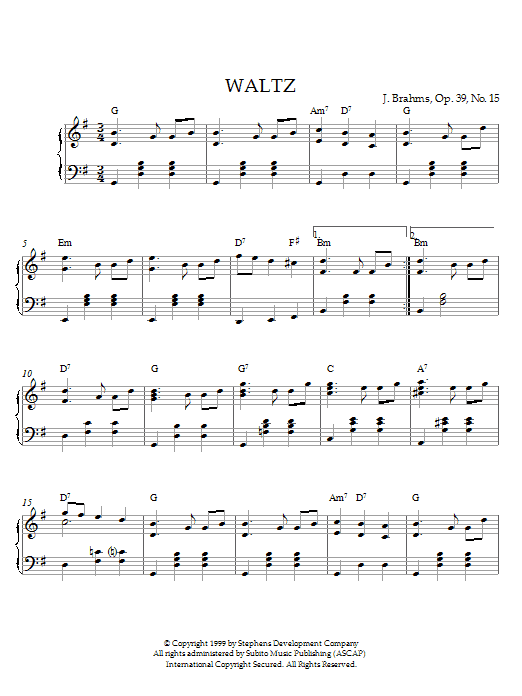 Johannes Brahms Waltz in G Major, Op. 39, No. 15 sheet music notes and chords