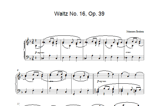 Johannes Brahms Waltz No. 16, Op. 39 sheet music preview music notes and score for Piano including 2 page(s)