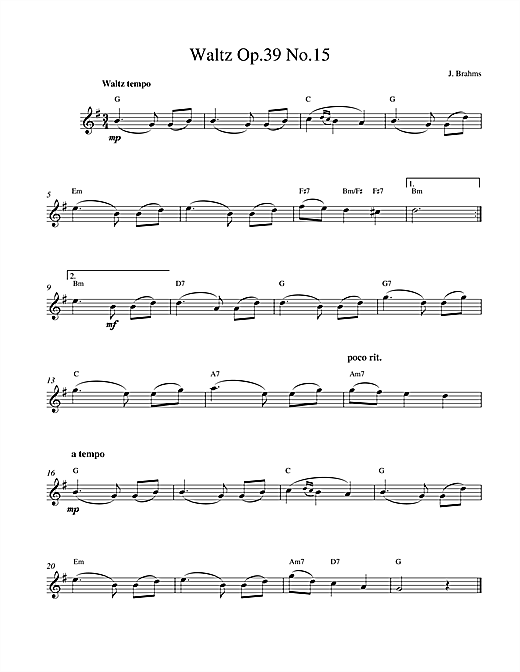 Johannes Brahms Waltz Op.39 No.15 sheet music notes and chords