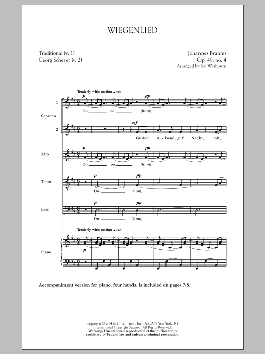 Download Johannes Brahms 'Wiegenlied (arr. Jon Washburn)' Digital Sheet Music Notes & Chords and start playing in minutes