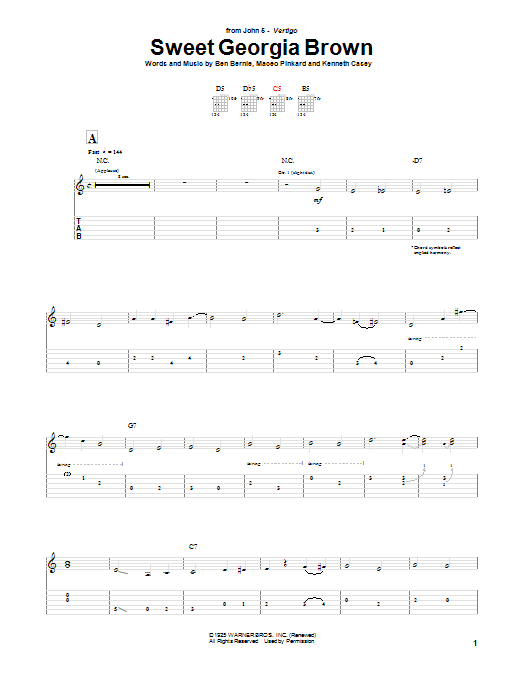 John 5 Sweet Georgia Brown sheet music preview music notes and score for Guitar Tab including 10 page(s)