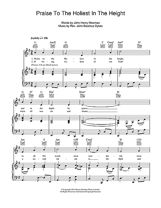 John B. Dykes Praise To The Holiest In The Heights sheet music notes and chords