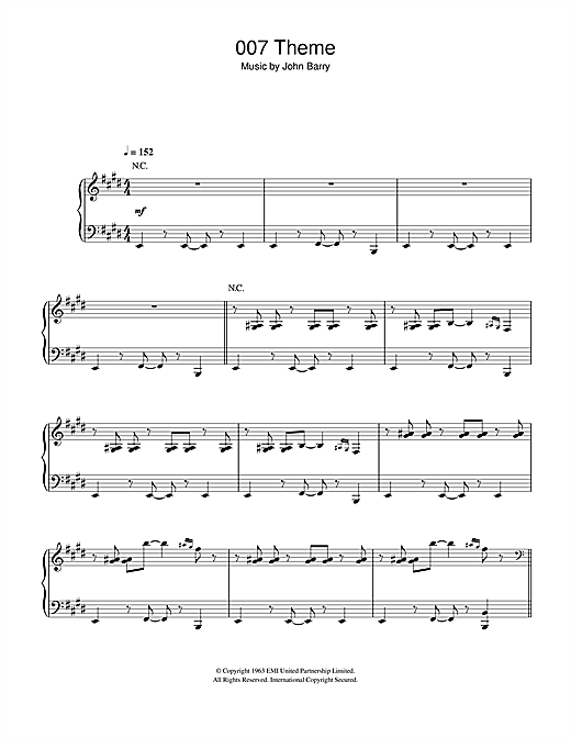 Download John Barry '007 Theme' Digital Sheet Music Notes & Chords and start playing in minutes
