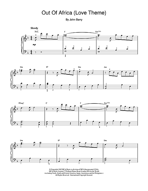 John Barry Love Theme from Out Of Africa sheet music notes and chords