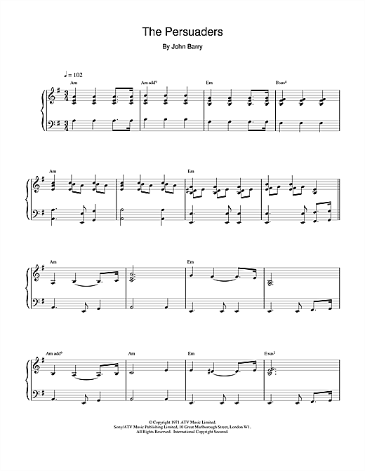 Download John Barry 'The Persuaders' Digital Sheet Music Notes & Chords and start playing in minutes
