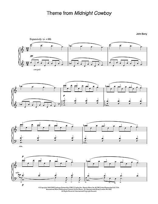 John Barry Theme from Midnight Cowboy sheet music notes and chords
