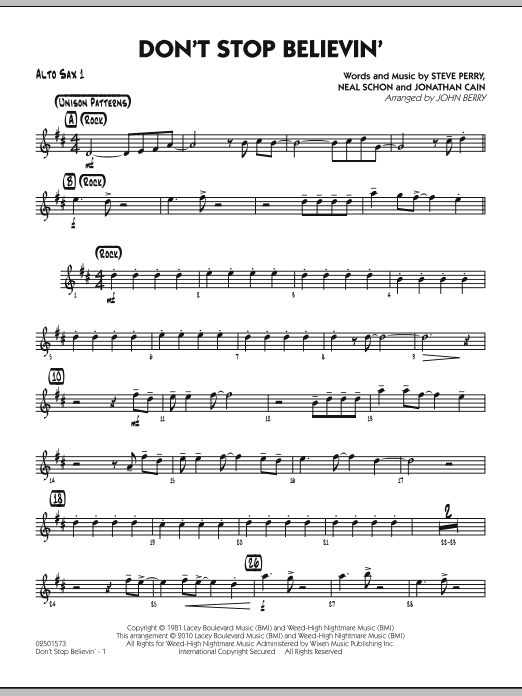 John Berry Don't Stop Believin' - Alto Sax 1 sheet music preview music notes and score for Jazz Ensemble including 2 page(s)