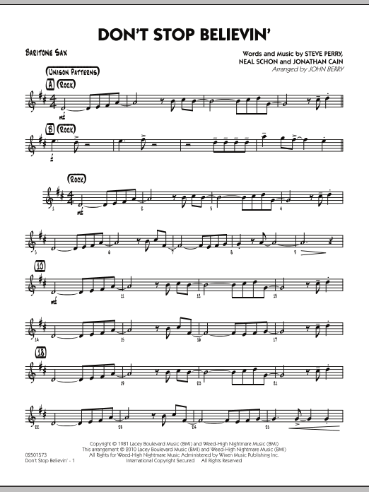 John Berry Don't Stop Believin' - Baritone Sax sheet music preview music notes and score for Jazz Ensemble including 2 page(s)