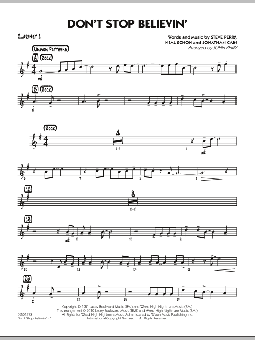 John Berry Don't Stop Believin' - Bb Clarinet 1 sheet music preview music notes and score for Jazz Ensemble including 2 page(s)