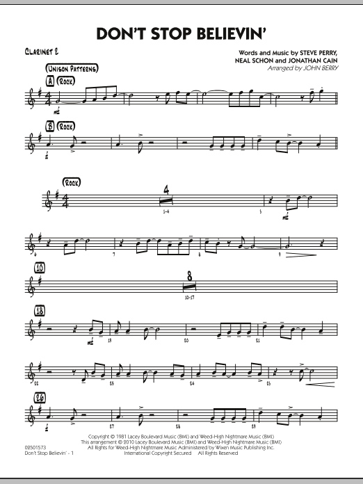 John Berry Don't Stop Believin' - Bb Clarinet 2 sheet music preview music notes and score for Jazz Ensemble including 2 page(s)