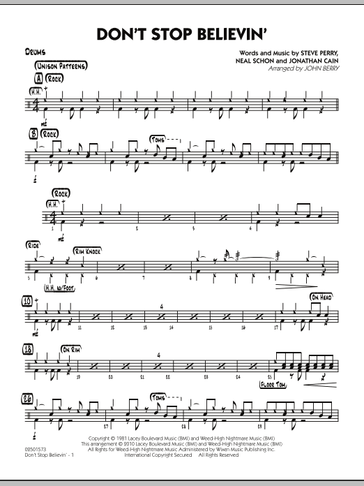 John Berry Don't Stop Believin' - Drums sheet music preview music notes and score for Jazz Ensemble including 2 page(s)
