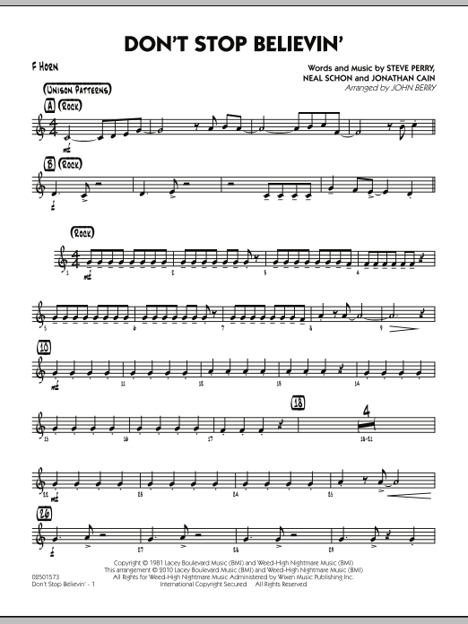 John Berry Don't Stop Believin' - F Horn sheet music preview music notes and score for Jazz Ensemble including 2 page(s)