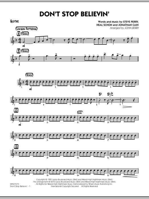 John Berry Don't Stop Believin' - Guitar sheet music preview music notes and score for Jazz Ensemble including 2 page(s)