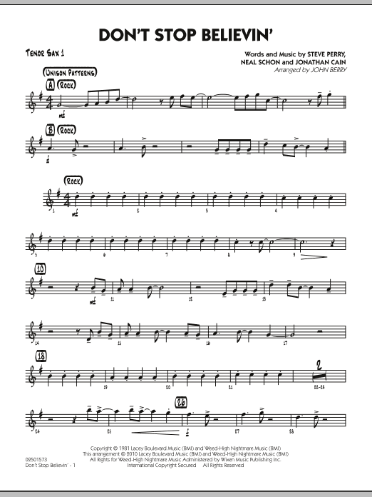 John Berry Don't Stop Believin' - Tenor Sax 1 sheet music preview music notes and score for Jazz Ensemble including 2 page(s)