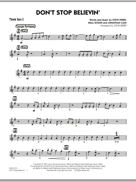 John Berry Don't Stop Believin' - Tenor Sax 2 sheet music preview music notes and score for Jazz Ensemble including 2 page(s)