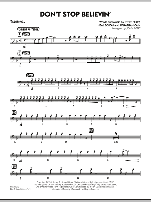 John Berry Don't Stop Believin' - Trombone 1 sheet music preview music notes and score for Jazz Ensemble including 2 page(s)