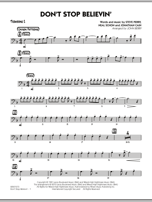 John Berry Don't Stop Believin' - Trombone 2 sheet music preview music notes and score for Jazz Ensemble including 2 page(s)