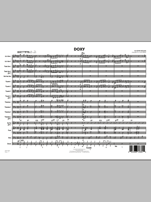 John Berry Doxy - Full Score sheet music preview music notes and score for Jazz Ensemble including 7 page(s)