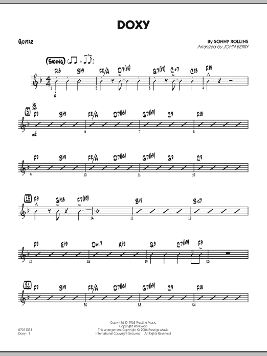 John Berry Doxy - Guitar sheet music preview music notes and score for Jazz Ensemble including 2 page(s)