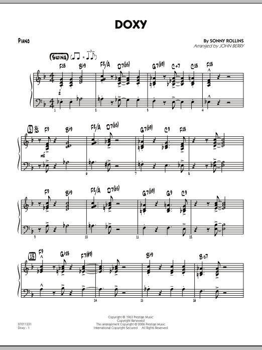 John Berry Doxy - Piano sheet music preview music notes and score for Jazz Ensemble including 3 page(s)