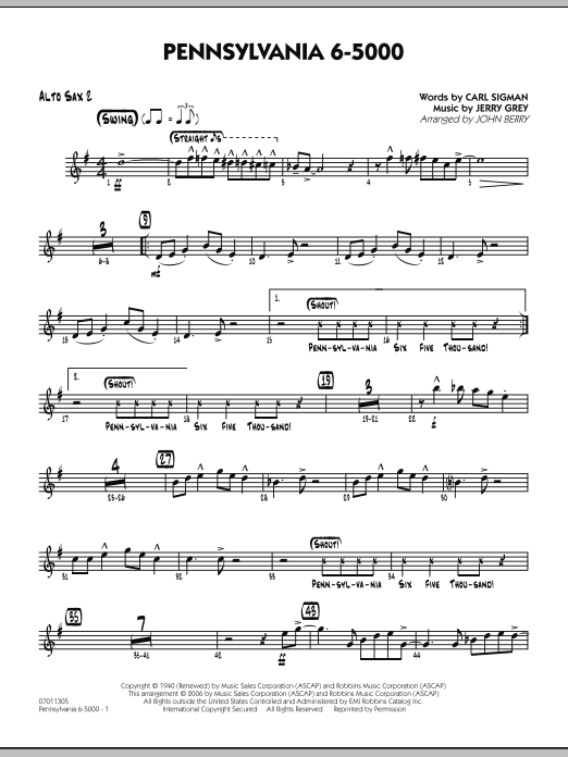 John Berry Pennsylvania 6-5000 - Alto Sax 2 sheet music preview music notes and score for Jazz Ensemble including 2 page(s)