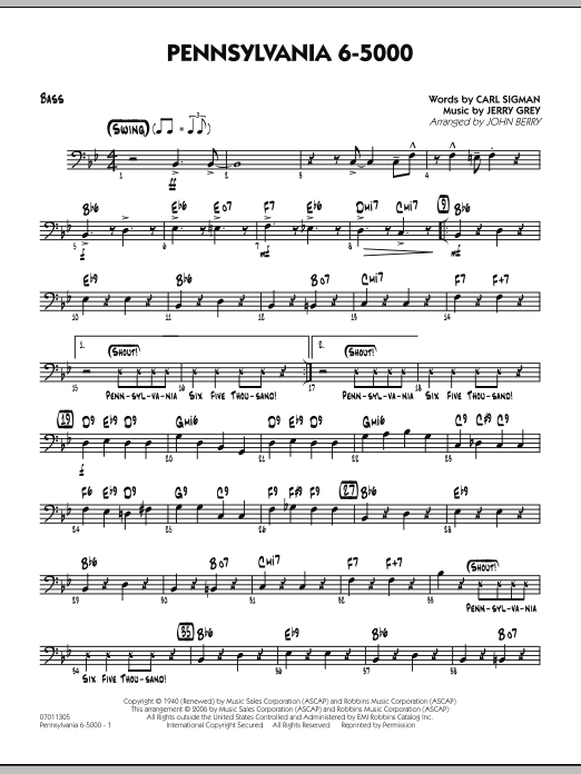 John Berry Pennsylvania 6-5000 - Bass sheet music preview music notes and score for Jazz Ensemble including 2 page(s)