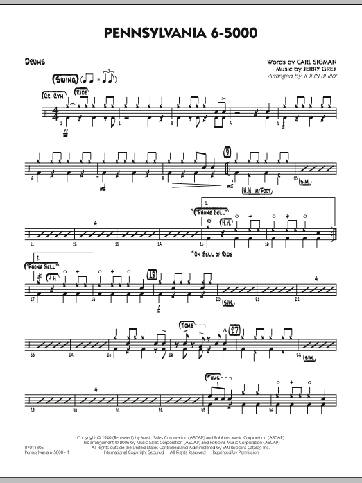 John Berry Pennsylvania 6-5000 - Drums sheet music preview music notes and score for Jazz Ensemble including 2 page(s)