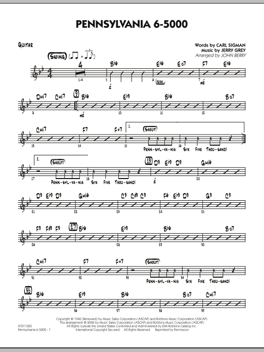 John Berry Pennsylvania 6-5000 - Guitar sheet music preview music notes and score for Jazz Ensemble including 2 page(s)