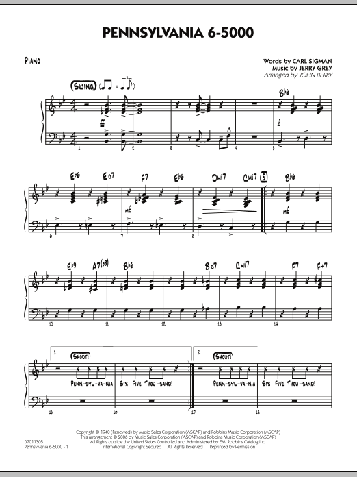 John Berry Pennsylvania 6-5000 - Piano sheet music preview music notes and score for Jazz Ensemble including 4 page(s)