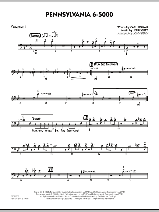 John Berry Pennsylvania 6-5000 - Trombone 1 sheet music preview music notes and score for Jazz Ensemble including 2 page(s)