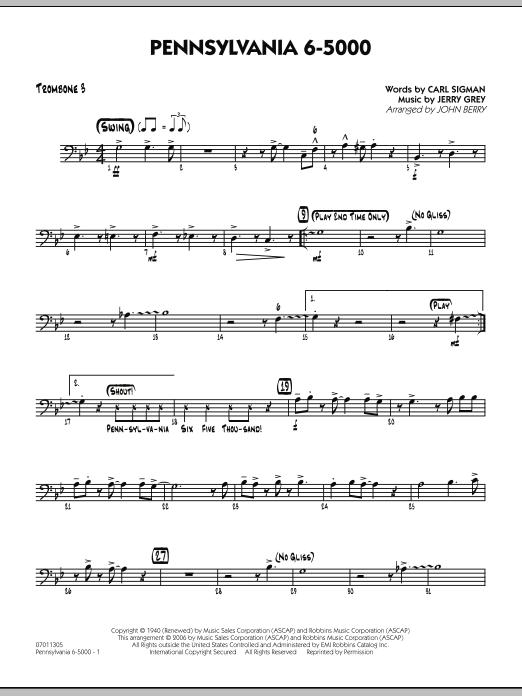 John Berry Pennsylvania 6-5000 - Trombone 3 sheet music preview music notes and score for Jazz Ensemble including 2 page(s)