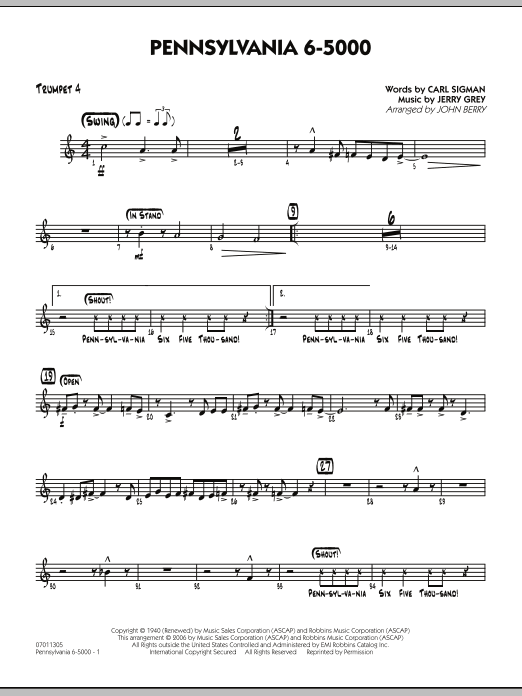 John Berry Pennsylvania 6-5000 - Trumpet 4 sheet music preview music notes and score for Jazz Ensemble including 2 page(s)