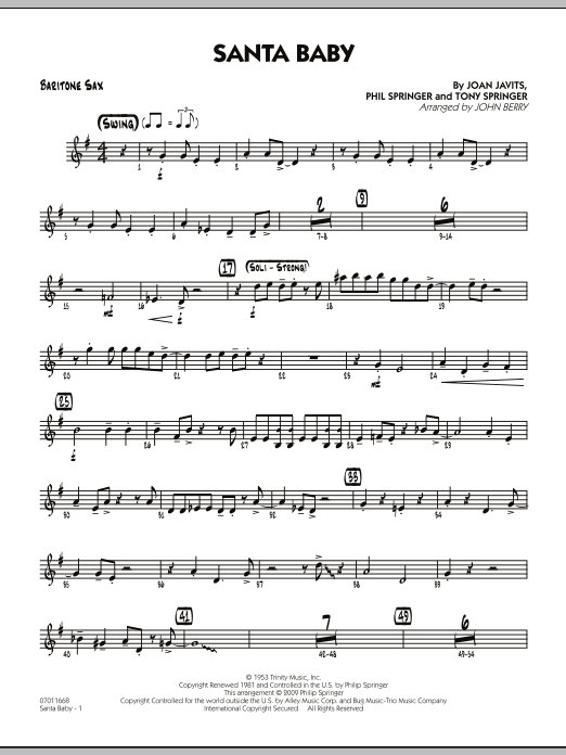 John Berry Santa Baby - Baritone Sax sheet music preview music notes and score for Jazz Ensemble including 2 page(s)