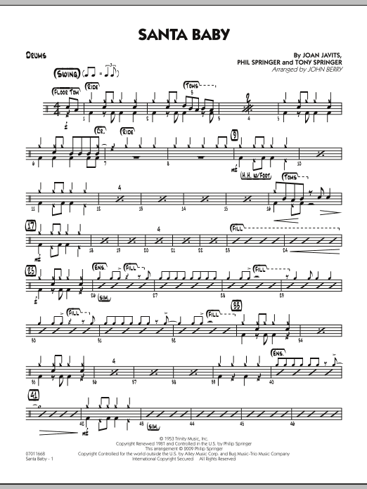 John Berry Santa Baby - Drums sheet music preview music notes and score for Jazz Ensemble including 2 page(s)
