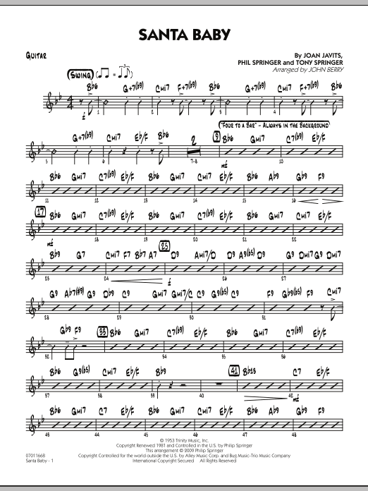 John Berry Santa Baby - Guitar sheet music preview music notes and score for Jazz Ensemble including 2 page(s)