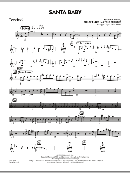 John Berry Santa Baby - Tenor Sax 2 sheet music preview music notes and score for Jazz Ensemble including 2 page(s)