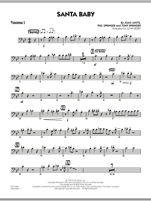 John Berry Santa Baby - Trombone 2 sheet music preview music notes and score for Jazz Ensemble including 2 page(s)