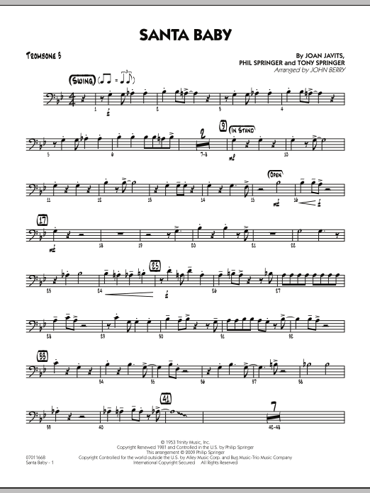 John Berry Santa Baby - Trombone 3 sheet music preview music notes and score for Jazz Ensemble including 2 page(s)