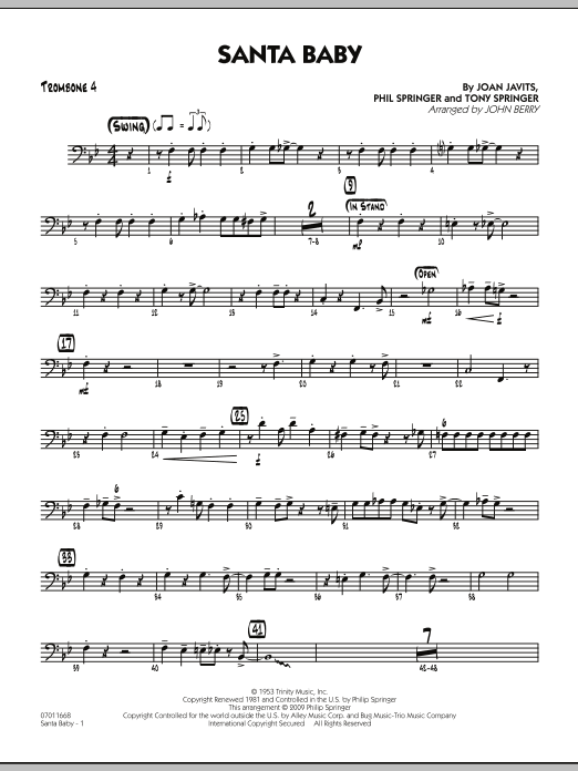 John Berry Santa Baby - Trombone 4 sheet music preview music notes and score for Jazz Ensemble including 2 page(s)