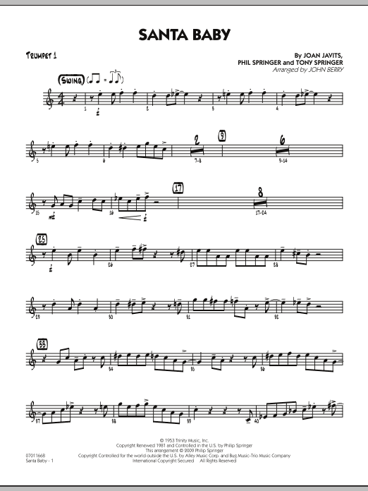 John Berry Santa Baby - Trumpet 1 sheet music preview music notes and score for Jazz Ensemble including 2 page(s)