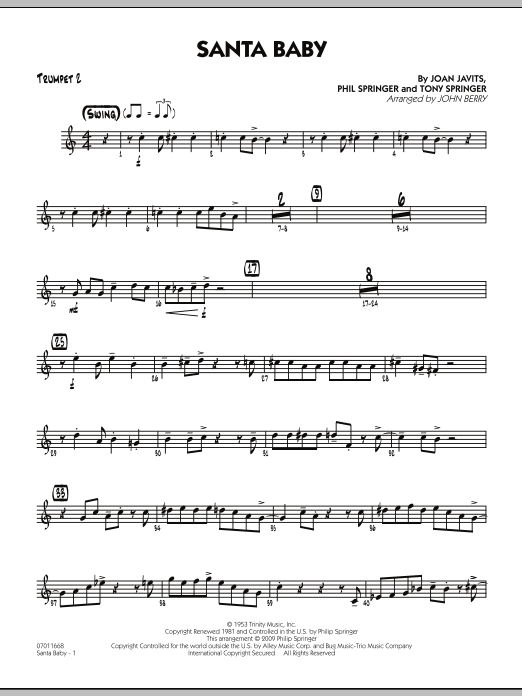 John Berry Santa Baby - Trumpet 2 sheet music preview music notes and score for Jazz Ensemble including 2 page(s)